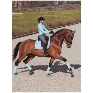 EQUESTRIAN STOCKHOLM SADDLE PAD ICE BLUE WITH PEARLS